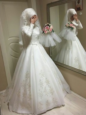 Ball Gown Jewel Tulle Long Sleeves Floor-Length Wedding Dresses
