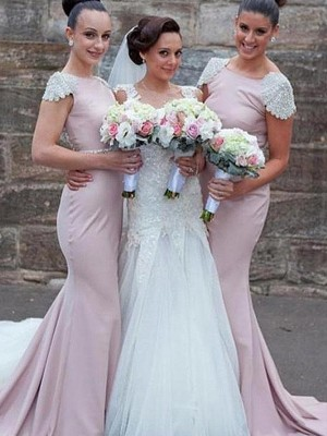 Trumpet/Mermaid Bateau Satin Sleeveless Sweep/Brush Train Bridesmaid Dresses