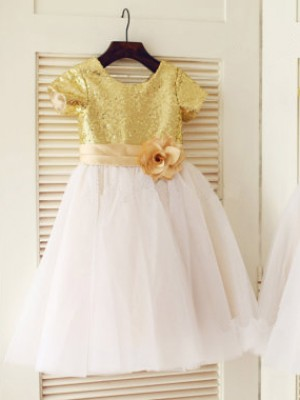 A-Line/Princess Scoop Tulle Short Sleeves Knee-Length Flower Girl Dresses