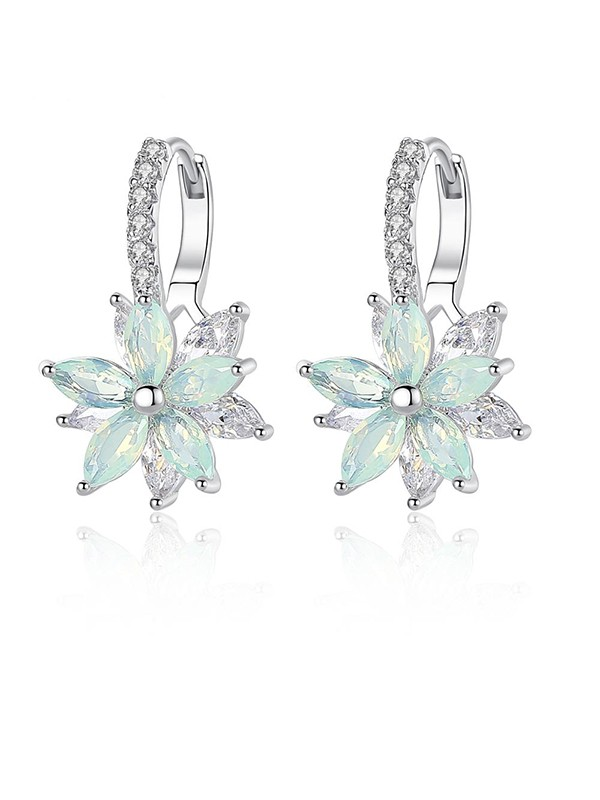 Fashion Crystal With Flowers Ladies Earrings
