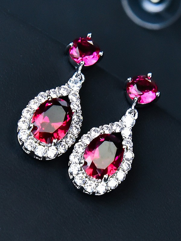 Vintage Copper With Crystal Earrings For Ladies