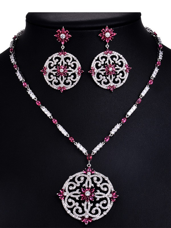 Trending Copper With Rhinestone Hot Sale Jewelry Set