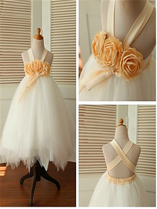 Ball Gown Straps Tulle Sleeveless Tea-Length Flower Girl Dresses