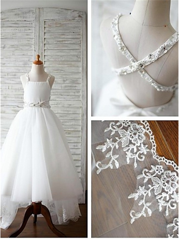 A-line/Princess Spaghetti Straps Tulle Sleeveless Sweep/Brush Train Flower Girl Dresses
