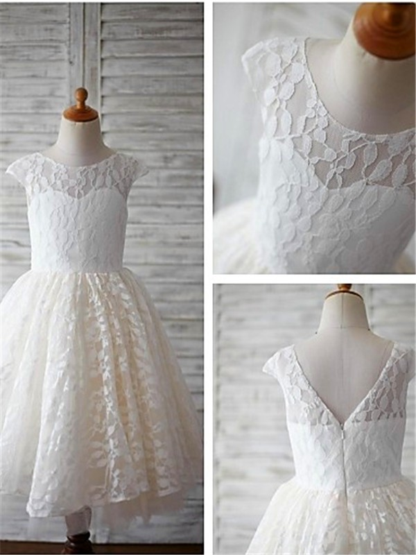 A-line/Princess Scoop Lace Short Sleeves Ankle-Length Flower Girl Dresses