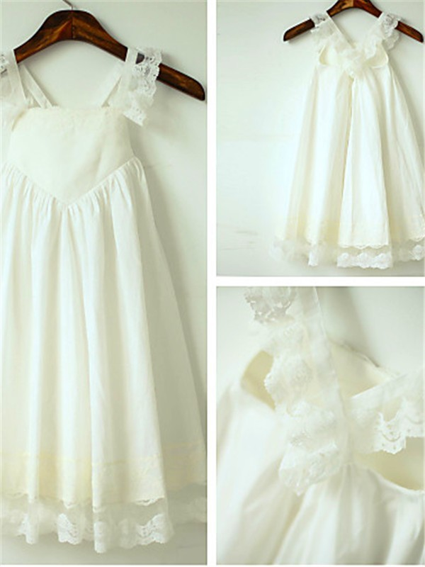 A-line/Princess Straps Chiffon Sleeveless Tea-Length Flower Girl Dresses