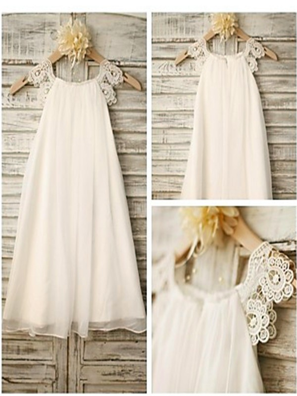 A-line/Princess Scoop Chiffon Sleeveless Ankle-Length Flower Girl Dresses