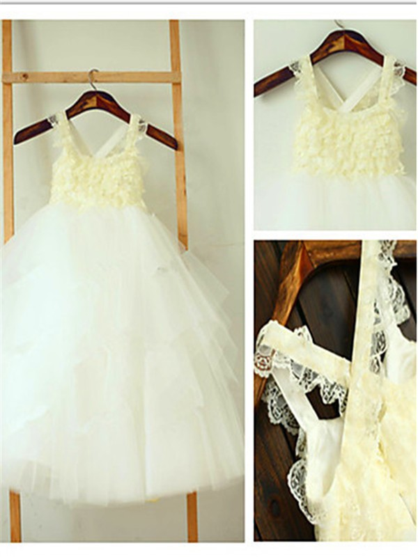 Ball Gown Square Tulle Sleeveless Tea-Length Flower Girl Dresses