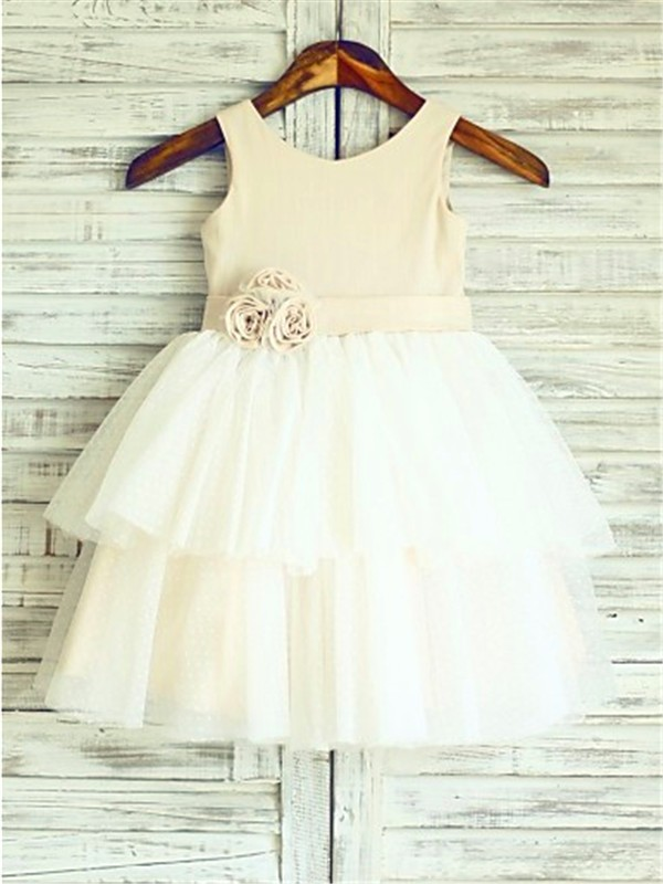 A-line/Princess Straps Tulle Sleeveless Tea-Length Flower Girl Dresses