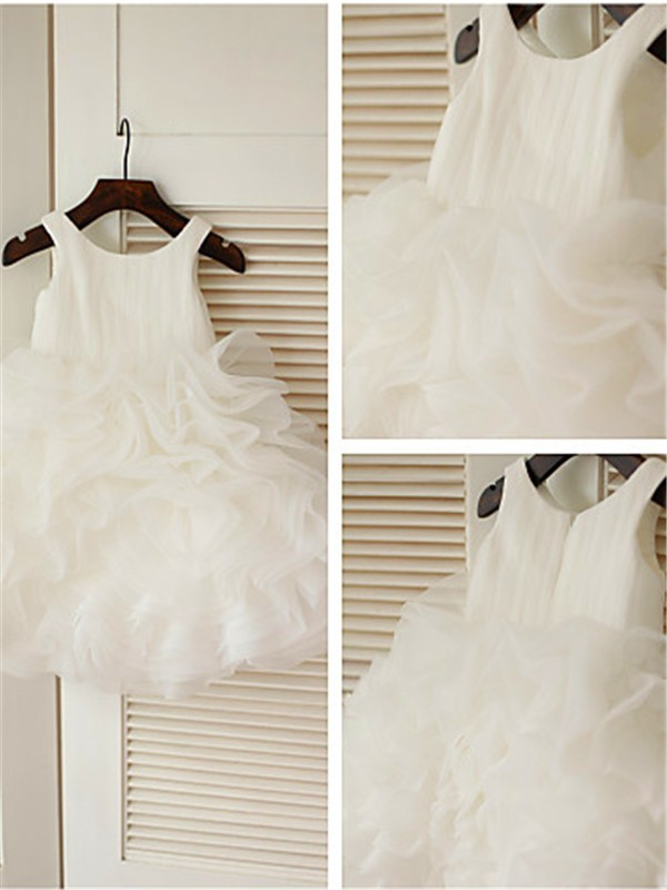Ball Gown Scoop Organza Sleeveless Knee-Length Flower Girl Dresses