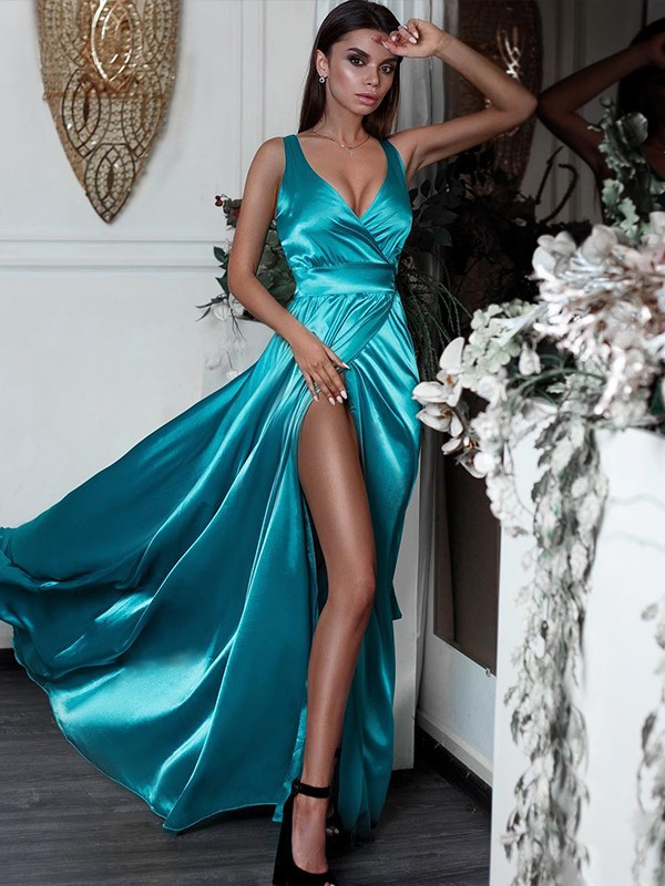 A-Line/Princess V-neck Satin Sleeveless Sweep/Brush Train Dresses