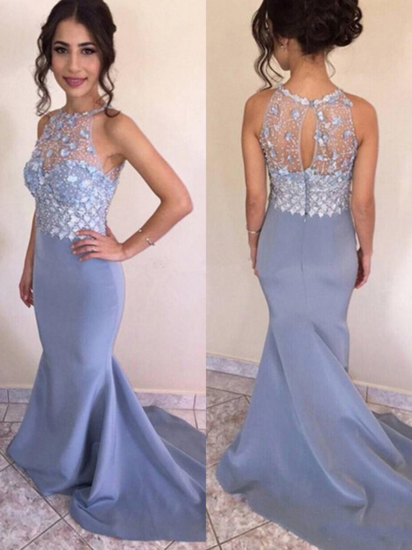 Trumpet/Mermaid Jewel Satin Sleeveless Sweep/Brush Train Dresses