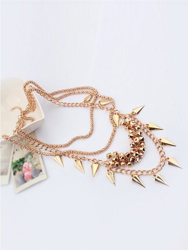 Occident Hyperbolic Stylish Street shooting style Button screw Metallic Multi-layered Hot Sale Necklace