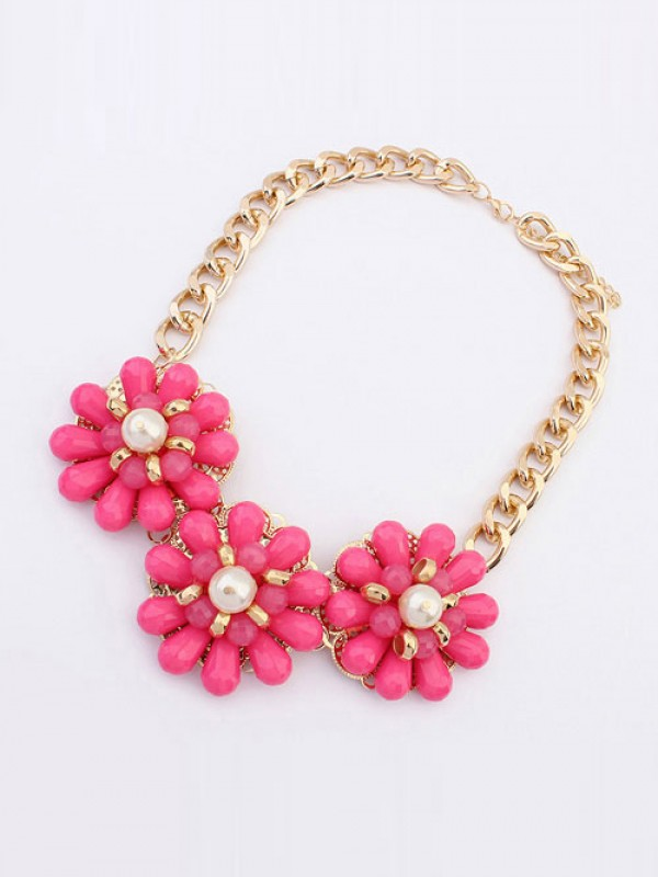 Occident Candy colors Fresh Big Flowers Hot Sale Necklace