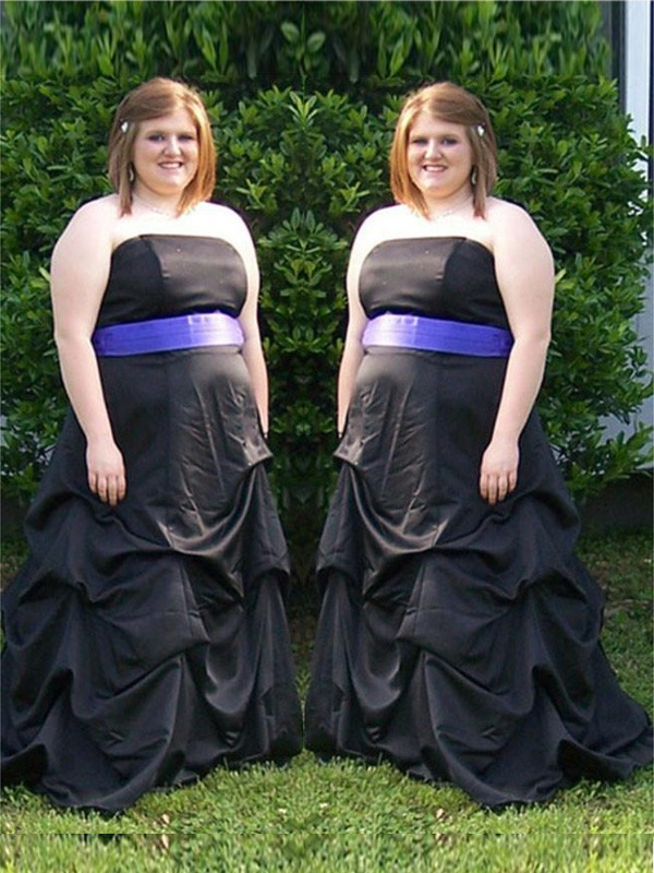 A-Line/Princess Strapless Satin Sleeveless Sweep/Brush Train Plus Size Dresses
