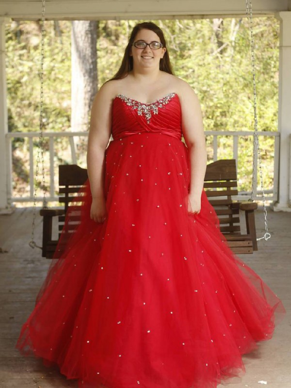 Ball Gown Sweetheart Organza Sleeveless Floor-Length Plus Size Dresses