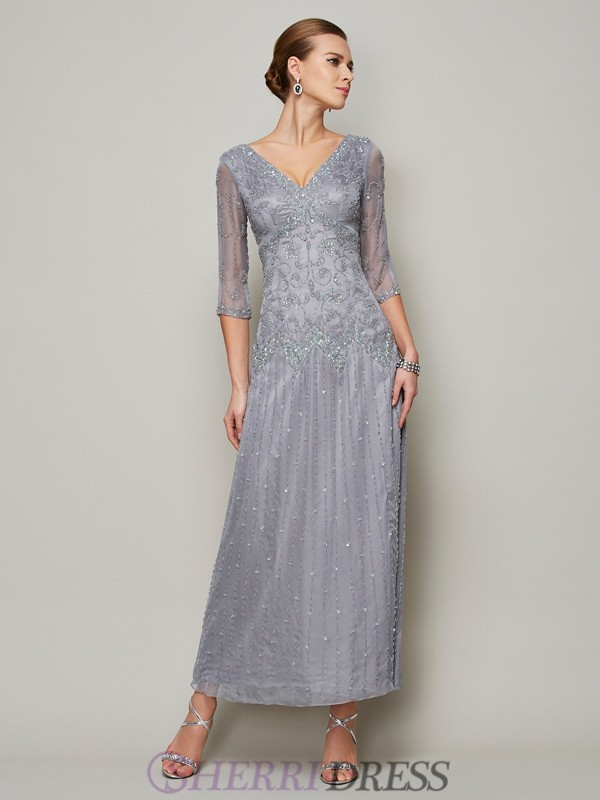 Sheath/Column V-neck Elastic Woven Satin 1/2 Sleeves Ankle-Length Mother of the Bride Dresses