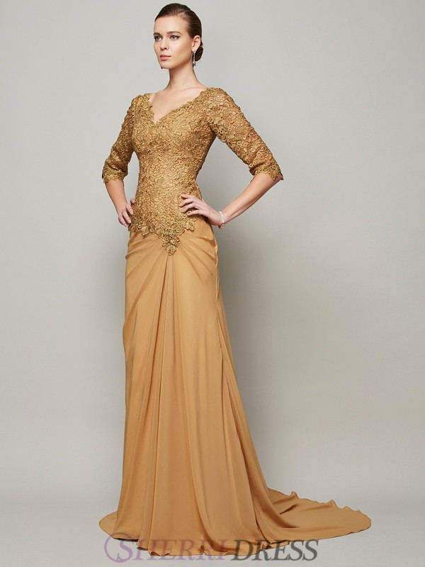 Sheath/Column V-neck Chiffon 1/2 Sleeves Floor-Length Dresses