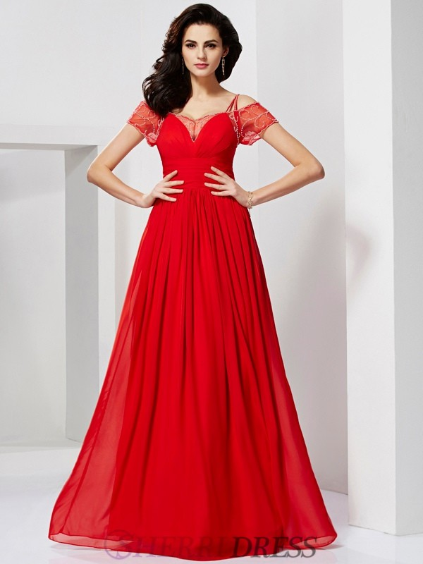 A-Line/Princess Spaghetti Straps Chiffon Short Sleeves Floor-Length Dresses