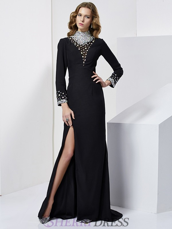Sheath/Column High Neck Chiffon Long Sleeves Sweep/Brush Train Dresses