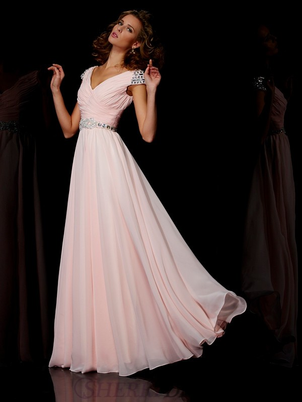A-Line/Princess V-neck Chiffon Short Sleeves Floor-Length Dresses