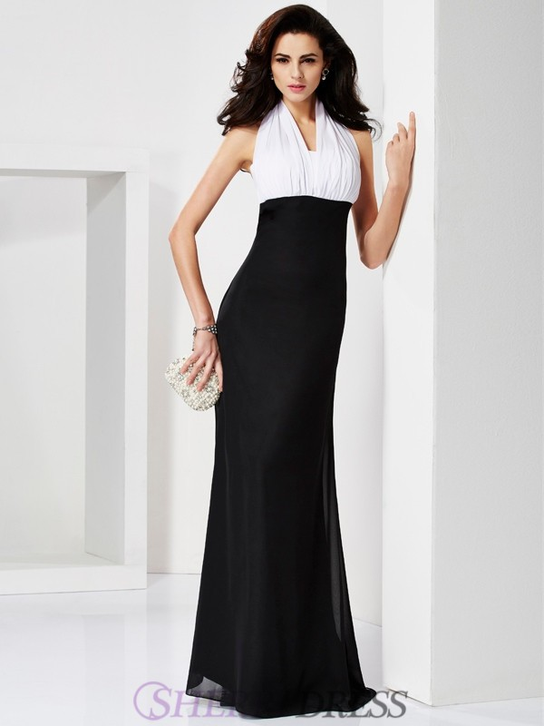 Trumpet/Mermaid Halter Chiffon Sleeveless Floor-Length Dresses