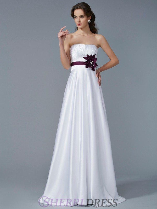 A-Line/Princess Strapless Satin Sleeveless Sweep/Brush Train Dresses