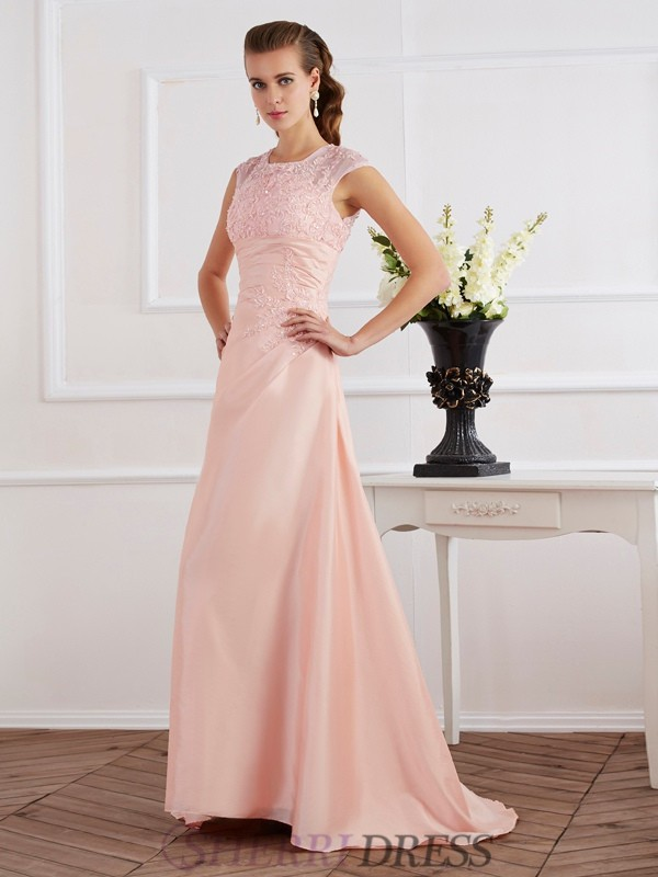 Sheath/Column High Neck Chiffon Short Sleeves Sweep/Brush Train Evening Dresses