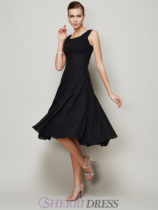 A-Line/Princess Straps Chiffon Sleeveless Knee-Length Dresses