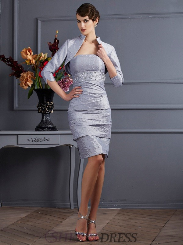 Sheath/Column Strapless Taffeta Sleeveless Knee-Length Dresses