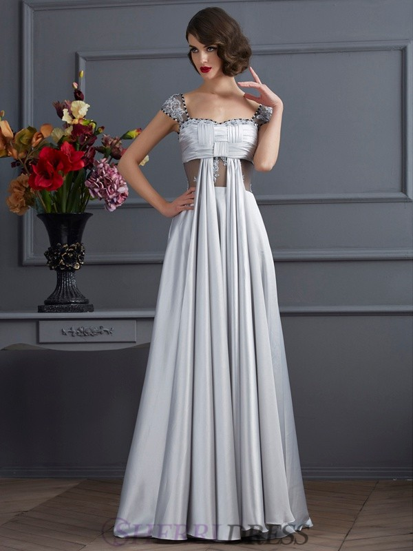 A-Line/Princess Off the Shoulder Elastic Woven Satin Sleeveless Floor-Length Dresses