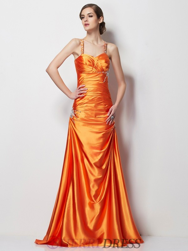 A-Line/Princess Spaghetti Straps Elastic Woven Satin Sleeveless Sweep/Brush Train Dresses