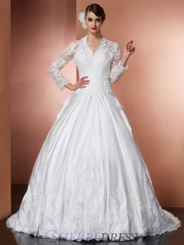 A-Line/Princess V-neck Satin Long Sleeves Cathedral Train Wedding Dresses