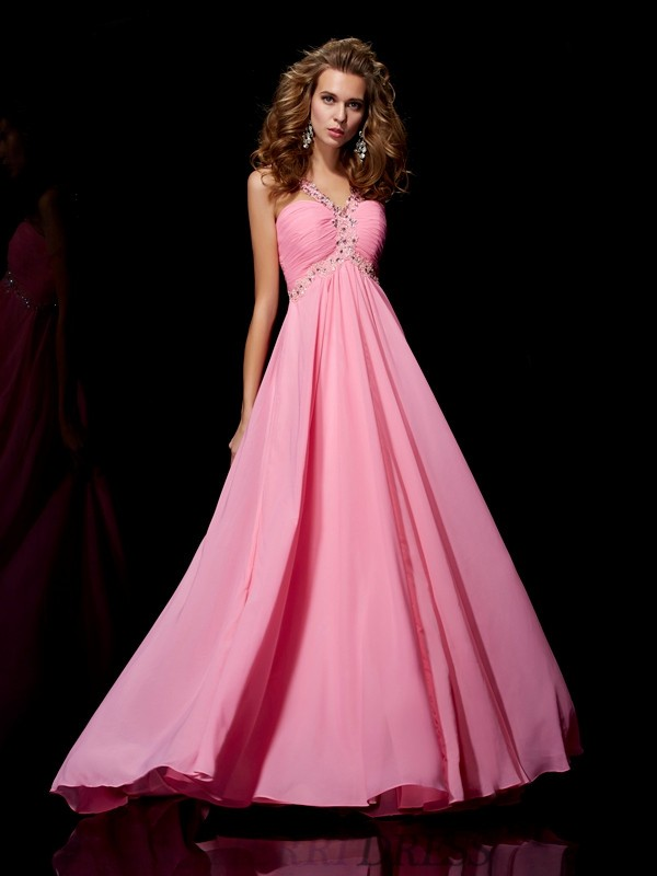 A-Line/Princess Straps Chiffon Sleeveless Sweep/Brush Train Dresses
