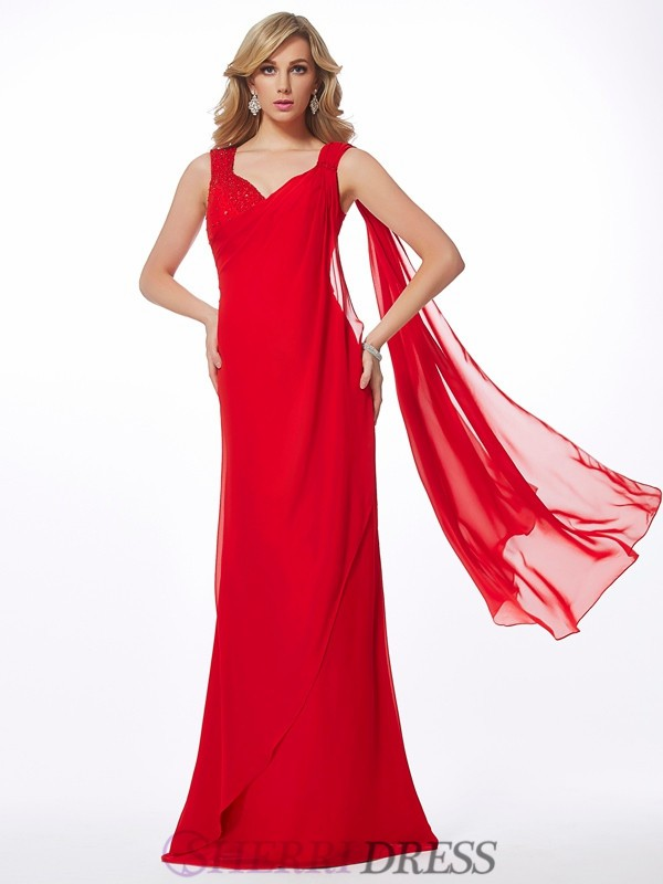 Sheath/Column Straps Chiffon Sleeveless Floor-Length Dresses