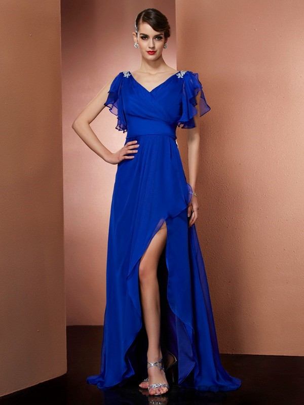 A-Line/Princess V-neck Chiffon Sleeveless Asymmetrical Dresses