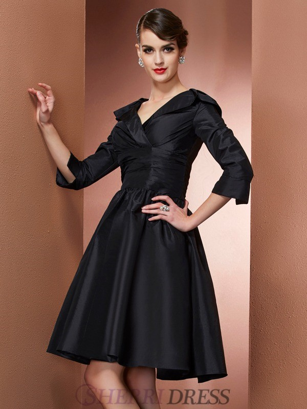 A-Line/Princess V-neck Taffeta 3/4 Sleeves Short/Mini Mother of the Bride Dresses