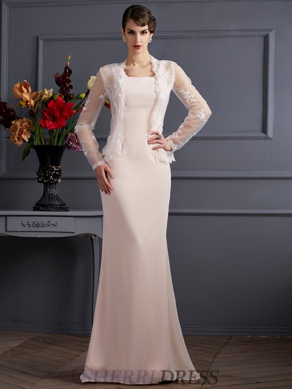 Sheath/Column Square Chiffon Sleeveless Floor-Length Mother of the Bride Dresses