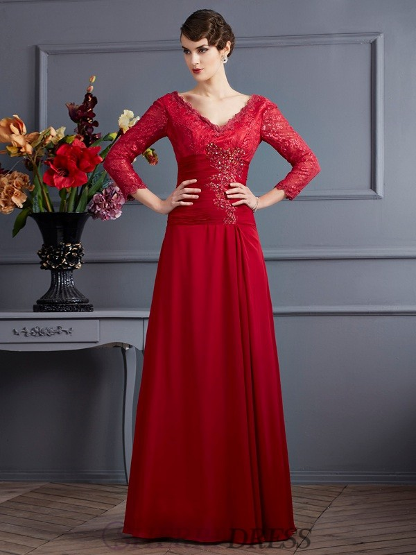 Sheath/Column V-neck Chiffon 3/4 Sleeves Floor-Length Dresses