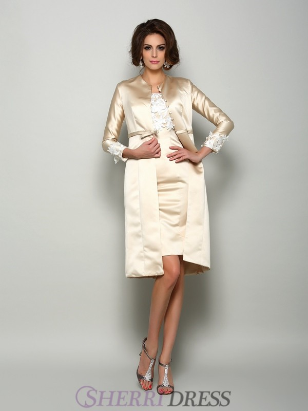 Sheath/Column Square Satin Short Sleeves Knee-Length Mother of the Bride Dresses