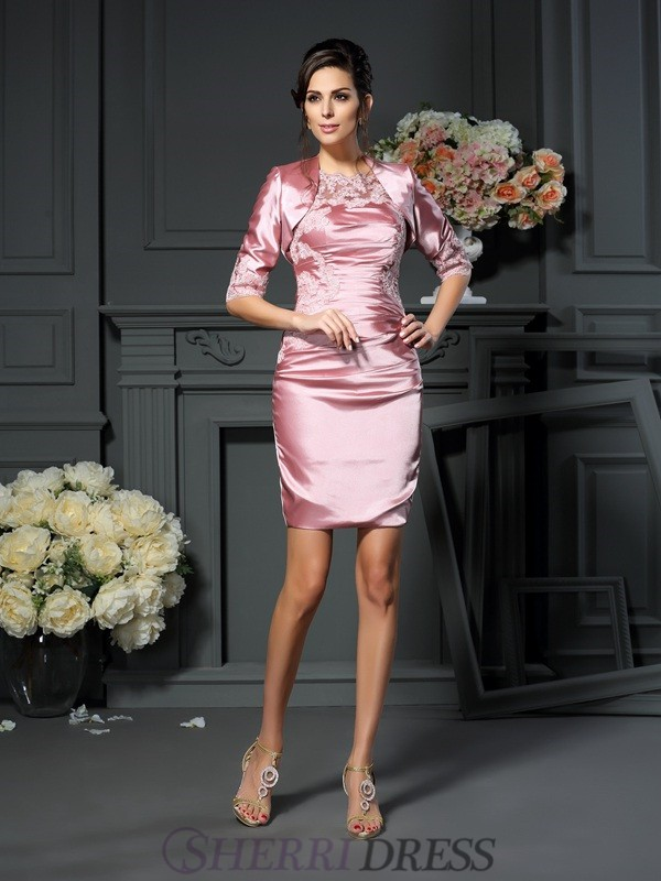 Sheath/Column Scoop Elastic Woven Satin Sleeveless Short/Mini Mother of the Bride Dresses