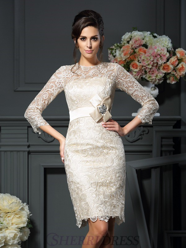 Sheath/Column Scoop Lace 3/4 Sleeves Short/Mini Mother of the Bride Dresses