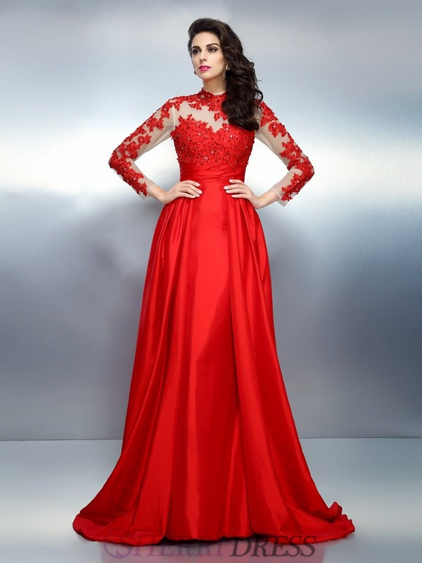 A-Line/Princess High Neck Satin Long Sleeves Sweep/Brush Train Dresses