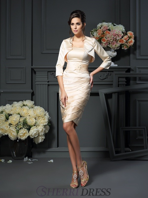Sheath/Column Strapless Satin Sleeveless Knee-Length Mother of the Bride Dresses