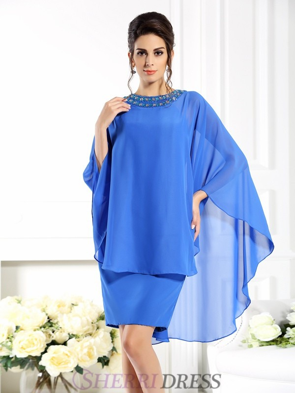 Sheath/Column Bateau Chiffon 3/4 Sleeves Knee-Length Mother of the Bride Dresses