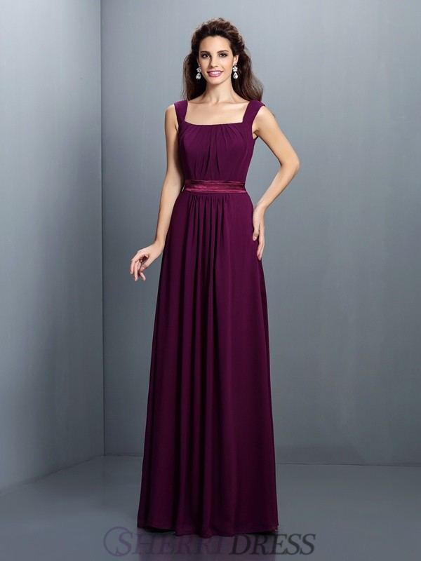 A-Line/Princess Square Chiffon Sleeveless Floor-Length Bridesmaid Dresses
