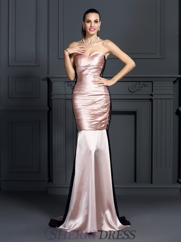 Trumpet/Mermaid Sweetheart Taffeta Sleeveless Sweep/Brush Train Dresses