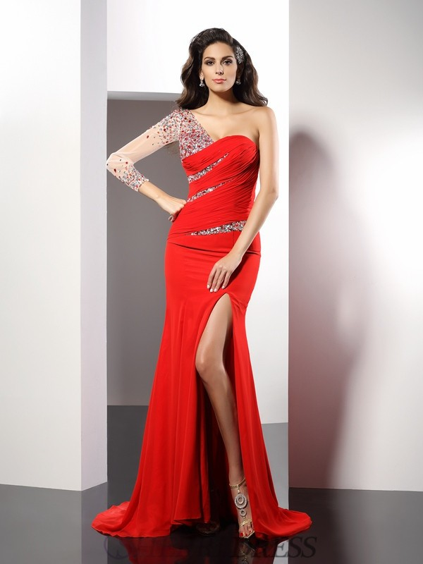 Sheath/Column One-Shoulder Chiffon 3/4 Sleeves Sweep/Brush Train Dresses