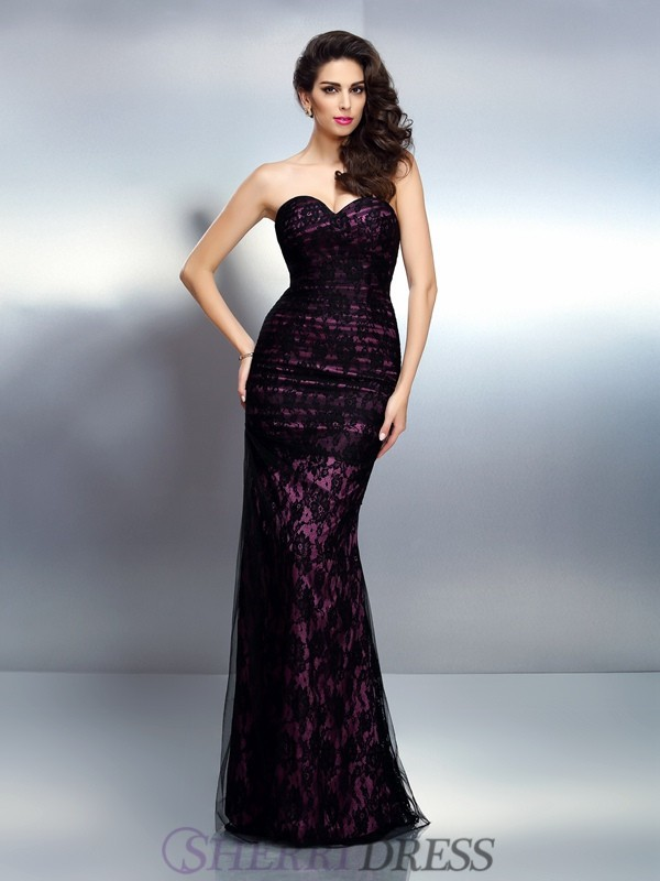 Trumpet/Mermaid Sweetheart Elastic Woven Satin Sleeveless Floor-Length Evening Dresses