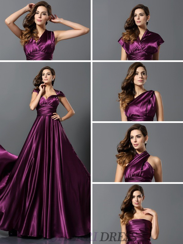 A-Line/Princess Silk like Satin Sleeveless Floor-Length Bridesmaid Dresses